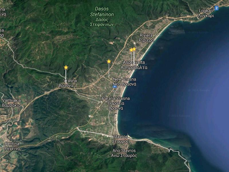 Asprovalta, Nea Vrasna, Paralia Vrasna, Location map